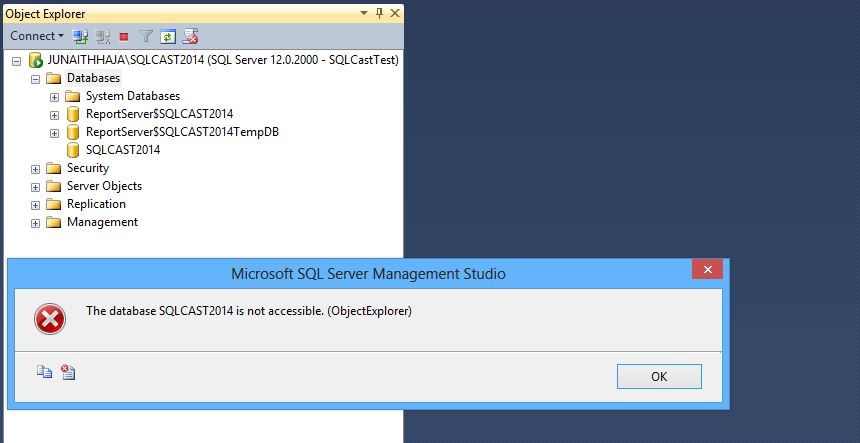 Error Message in SQL Server 2014