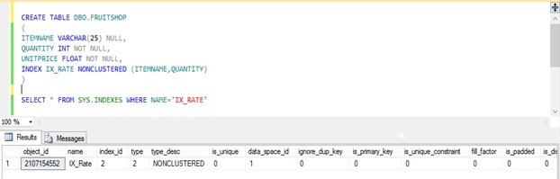 Create Index by Inline Specification in SQL Server 214