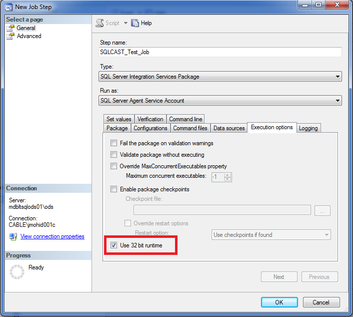 Running SSIS package at 32bit from SQL Server Agent